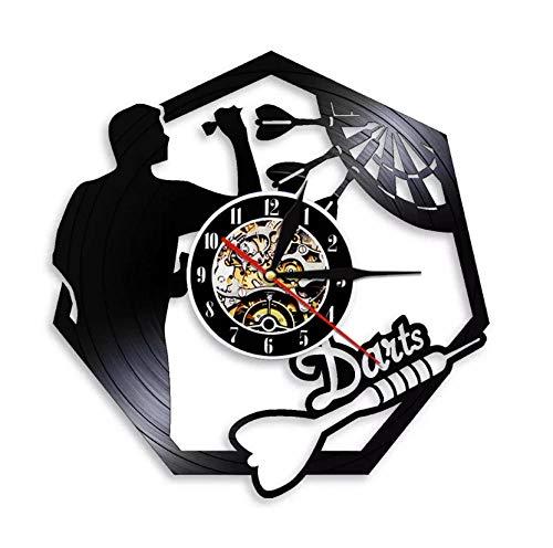 No-brand Wanduhr Schallplatte Spielraum Dart Ziel Stumm Design Handmade Vinyl Schallplattenuhr Design-Uhr Wand-Deko Vintage-Uhr Schallplatte Wanduhr 12 Zoll - Mit LED-Licht