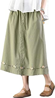 Women's Embroidery A-line Skirts Cotton Linen Vintage Pull On Dress