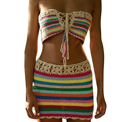 Lannister Damen Bademode Frauen Bohemian Handmade Bikini Gestrickte Set Beach Crochet Festlich Bekleidung Bademode BH Badeanzug Handgemachte Gestrickte Reizvolle Spalte Badeanzug Bikini