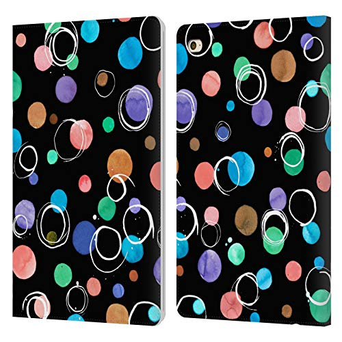 Head Case Designs Officially Licensed Ninola Dots Watercolour Black Patters 5 Leather Book Wallet Case Cover Compatible With Apple iPad mini 4