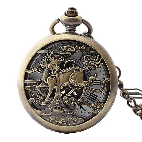 SGSG Reloj de Bolsillo mecánico automático Half Hunter Case Steampunk Skeleton Dial para Hombres Mujeres