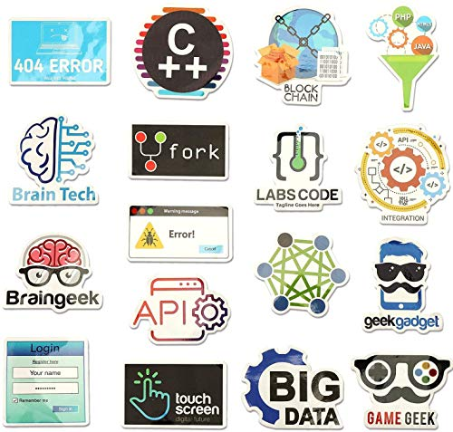OOTSR 50 pcs Cute Programming Language Stickers Internet Software Sticker For Geeks Hackers Developers to DIY iPhones Laptop Motorcycle Bicycle Luggage Skateboard
