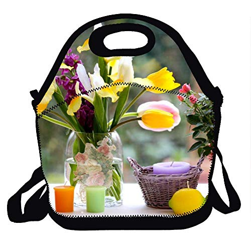 Reusable Insulated Lunch Tote Picnic School Bag Cooler Box for Men Women Ladies Children Flowers Suitcase
