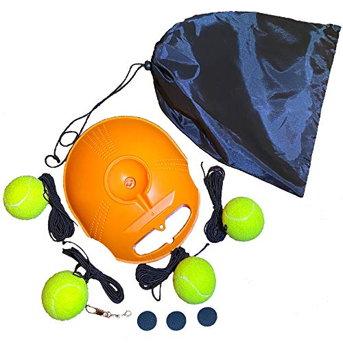 Q.H Tennis Trainer Rebounder Ball Base for Self-Study Training, Tennis Tool with 4 Tennis Balls & 4 Long Elastic Ropes, Rebound Tennis Practice Equipment for Beginners, Advanced, Kids, & Adults