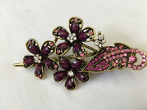Gorgeous Fashion Jewelry Crystal Rhinestones Flower Design Hair Clips Hair Pins Hair Sticks - Large Size - Mauve -For Hair Beauty Tools