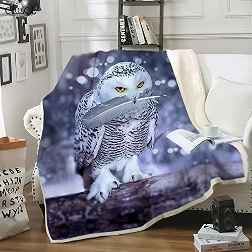 Mantas para Cama Mantas de Sherpa de búho Blanco con Estampado 3D de Animales,edredón Grueso para Adultos para Camas,Manta portátil para el hogar,Manta para bebé (40 x 50 Pulgadas)