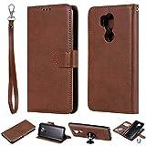 JEEXIA® Schutzhülle Für LG G7 ThinQ / G7 Fit / G7 One, Magnetisch Abnehmbar PU Lederhülle Flip Cover Brieftasche Innenschlitzen 2 in 1 Handy-Hülle (ohne Saugnapf) - Brown