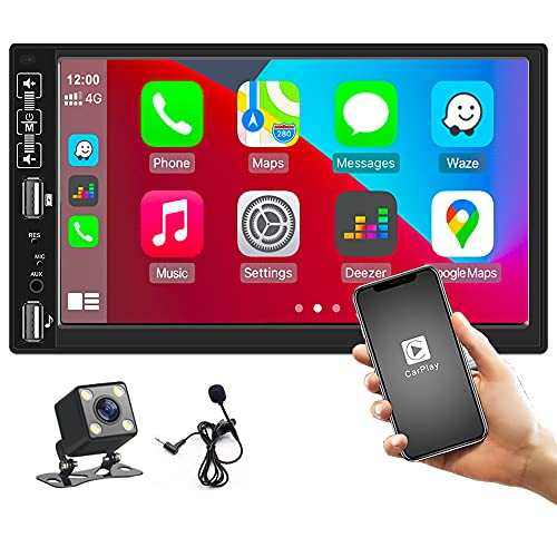 """Hikity Car Stereo Double Din Car Play 7"""" Full Touch Capacitive Screen Radio Support Bluetooth, FM Receiver, Mirror Link, Backup Camera Input, Steering Wheel Control"""