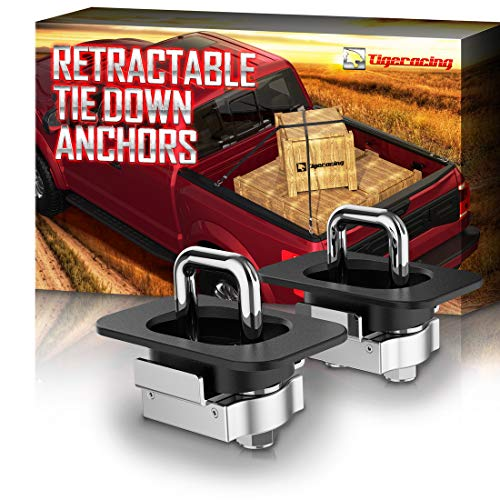 Tigeracing Tie Down Anchors Retractable Truck Bed Top Side D Ring Compatible with 2015-2021 F150 (ONLY for Rear Hole) | 2017-2021 F250 & F350 Super Duty | 2017-2019 Raptor - 3000 LBS Capacity (of 2)