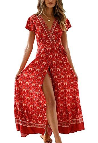PRETTYGARDEN Womens Summer Bohemian Floral Printed Ruffle Hem Split Belted Flowy Long Dress…