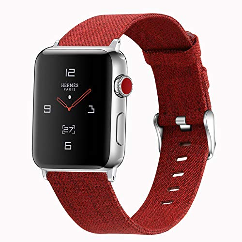 Estuyoya - Pulsera de Tela compatible con Apple Watch de Colores Ajustable Estilo Deportivo Casual Fina y Elegante para 42mm 44mm Series 6 / 5 / 4 / 3 / 2 / 1 / SE / Nike+ - Rojo