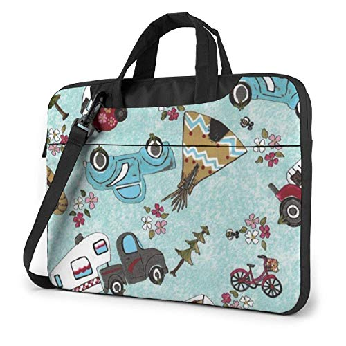 Laptop Shoulder Bag Carrying Laptop Case, Camp Cars Computer Sleeve Cover with Handle, Business Briefcase Protective Bag