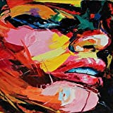 N / A Abstract Girl Face Canvas Painting Acuarela Art Canvas Graffiti Poster Picture para la decoración del hogar Pintura sin Marco 40x50cm