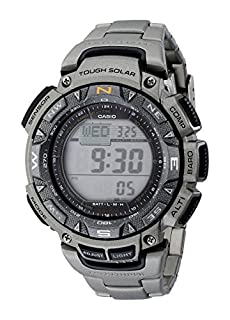 Casio Men's PAG240T-7CR Pathfinder Triple-Sensor Stainless Steel Watch with Titanium Bracelet (B003MOIVI4) | Amazon price tracker / tracking, Amazon price history charts, Amazon price watches, Amazon price drop alerts