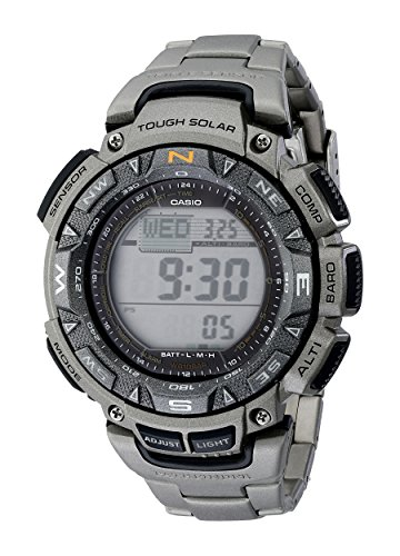 Casio Men's PAG240T-7CR Pathfinder Triple-Sensor Stainless Steel Watch...
