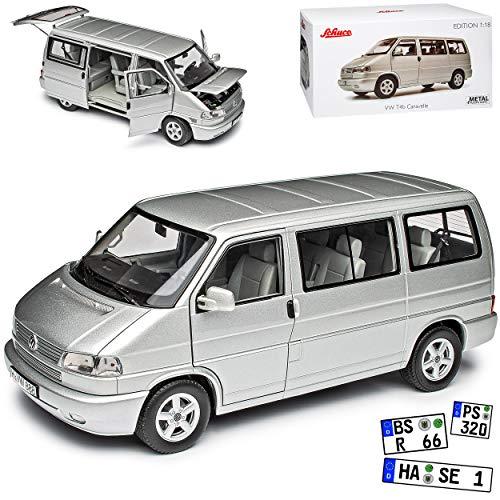 Volkwagen T4 B Caravelle Bus Personen Transporter Silber 1990-2003 1/18 Schuco Modell Auto