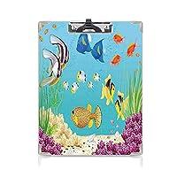 クリップボード 用箋挟 クロス貼 A4 短辺とじ 海洋動物の装飾 フォルダーボードフォルダーライティングボード (2パック)さまざまな水生植物とエキゾチックな魚の水中風景アートプリントマルチ