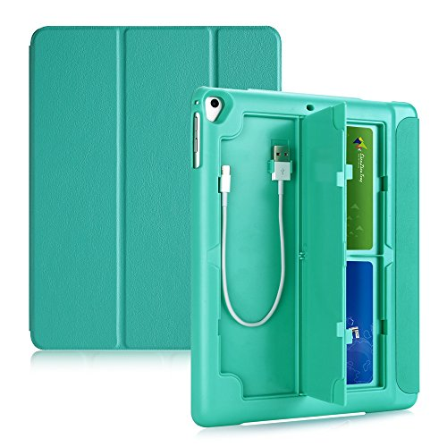 TKOOFN Case for iPad 5th/6th/iPad Air/Air 2, Multifunctional Protective Smart Cover with Pencil Holder, Card Box and USB Cables Storage, Mint Green
