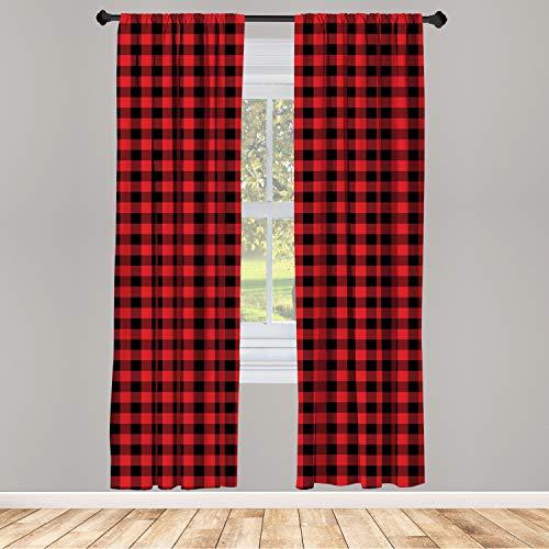 Ambesonne Plaid Window Curtain, Lumberjack Fashion Buffalo Style Checks Pattern Retro Style with Grid Composition, Lightweight Decorative Panels Set of 2 with Rod Pocket, 56 x 84, Orange Black