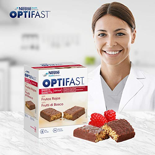 OPTIFAST Barritas Frutos rojos. Estuche de 6 barritas x 60g
