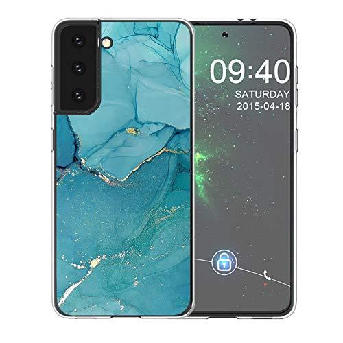 Lavender1 Funda para Samsung Galaxy S21, carcasa de mármol ultra híbrida, funda para Galaxy S21, funda suave transparente, silicona TPU, funda compatible con Samsung S21 verde oscuro 42