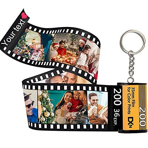 Lehaha Llaveros personalizados con imagen colorida,Llavero con foto Personalizadas con rollo de película fotográfica colorido,regalos para mujer hombre