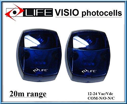 LIFE VISIO Lichtschranke, Fotozellen mit blauem Gehäuse / äußere Infrarot IR Sicherheit Sensor 12 -24 Vac/Vdc, NO/NC. Zellen. Reichweite: bis 20m.