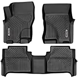 oEdRo Floor Mats Compatible with 2008-2019 Nissan Frontier Crew Cab, 2 Row Liner Set (Front & 2nd Seat), Black TPE All-Weather Guard - Custom Fit