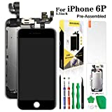 Compatible with iPhone 6 Plus Screen Replacement Black 5.5'',Hkhuibang Pre-Assembled LCD Touch Digitizer Display Full Assembly with OEM Front Camera Proximity Sensor Earpiece Speaker+Repair Tool