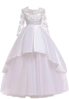 BestGift Kids Girls Wedding Flower Girl Dress elegant Princess Party Pageant Formal Dress Sleeveless Lace Tulle long Dress