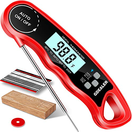 "GDEALER DT09 Waterproof Digital Instant Read Meat Thermometer with 4.6"" Folding Probe Calibration..."