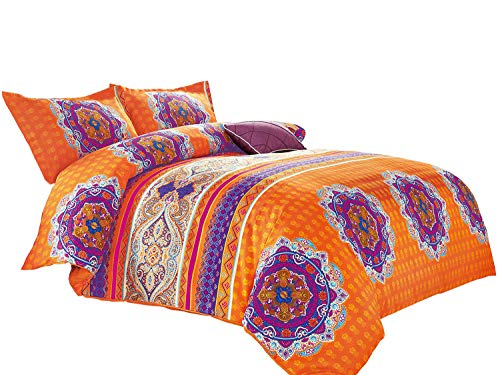 Wake In Cloud - Mandala Comforter Set King, 3-Piece Orange Bohemian Boho chic Medallion Pattern Printed, Soft Microfiber Bedding (3pcs, King Size)