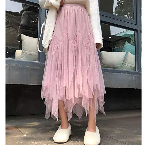 YLXINGMU Faldas De Mujer,Pink Wo En Irregu Ar Ong Tu E Kirt Adie High Wai T ANK E- Ength Tutu Axi Kirt Beige Green Fe A E