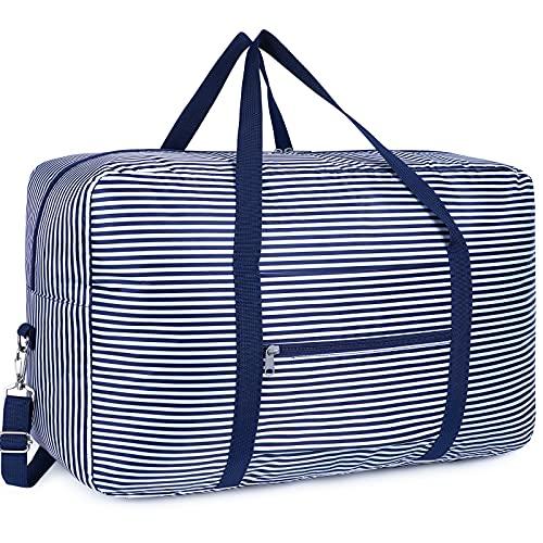 Bolsa de viaje plegable, de lona, ideal para fines de semana o para llevar al gimnasio, equipaje de mano, maleta para niñas, niños y mujeres, azul a rayas, free,