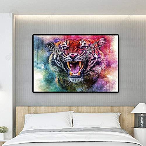 KWzEQ Cuadro En Lienzo decoración del hogar de la Pared del Tigre para el Cartel de la Sala de Estar,30x45,Pintura sin Marco