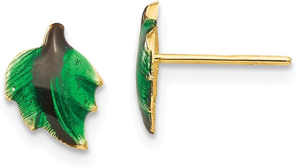 Solid 14k Yellow Gold Enameled Leaf Post Studs Earrings - 9mm x 7mm