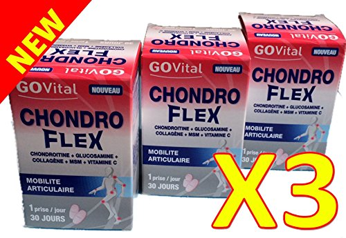 Urgo GOVital - Chondro Flex condroitina glucosamina colágeno MSM Vit C - TRES MESES de TRATAMIENTO - Lote de 3 cajas