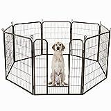 Froadp 8 piezas Valla Plegable Para Niños Valla de Seguridad Metálica Jaula de Rejilla con Puerta para Chimeneas Cachorros Animales Pequeños Roedores(80x100cm)
