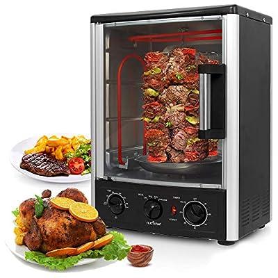 Nutrichef Upgraded Multi-Function Rotisserie Oven - Vertical Countertop Oven with Bake, Turkey Thanksgiving, Broil Roasting Kebab Rack with Adjustable Settings, 2 Shelves 1500 Watt - AZPKRT97