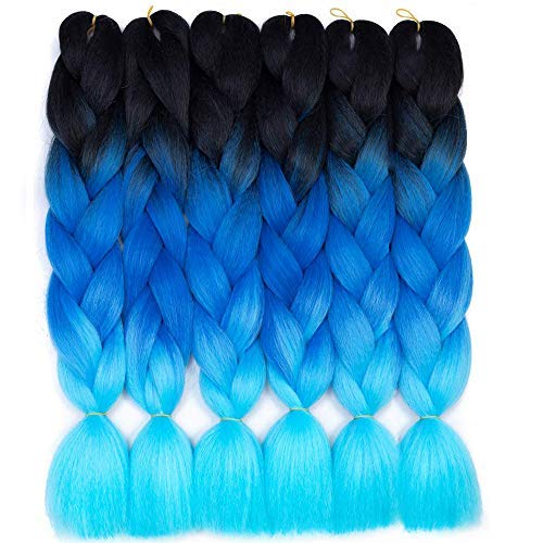 6 Packs Amchoice Ombre Braiding Hair Kanekalon Jumbo Braiding Hair 24 Inch Hair Extensions for Braiding Hair (Black-Dark blue-Light blue)