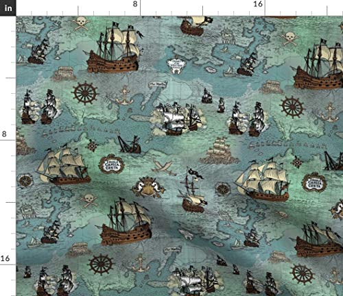 Spoonflower Fabric - Pirate Ships Map Blue Small Nautical Anchor Maritime Sailing Sailor Printed on Petal Signature Cotton Fabric by The Yard - Sewing Quilting Apparel Crafts Decor