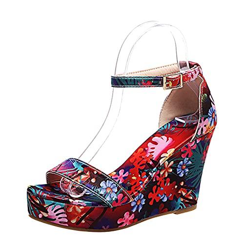 Sandalias de tacón alto para mujer, sandalias de tacón alto con correa para el tobillo y plataforma, rojo, 43 EU
