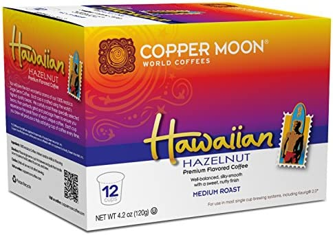 Copper Moon Single Cups for Keurig K Cup Brewers Hawaiian Hazelnut 12 Count Medium Roast Flavored product image