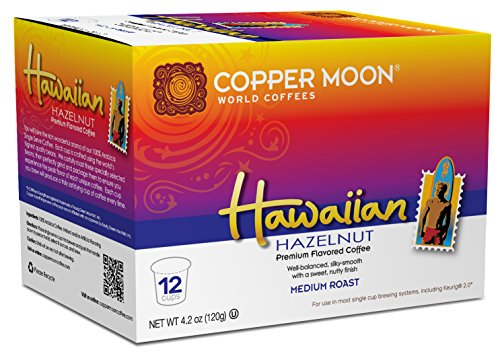 Copper Moon Single Cups for Keurig K-Cup Brewers, Hawaiian Hazelnut, 12 Count, Medium Roast Flavored Coffee, Balanced and Smooth with Hazelnut Flavor, Single-Serve Coffee Pods