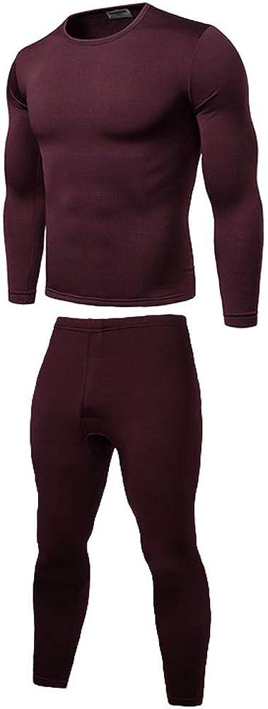 Mens Winter Warm Underwear Ultra-Soft Fleece Lined Top and Bottom 2pcs Baselayer Sets