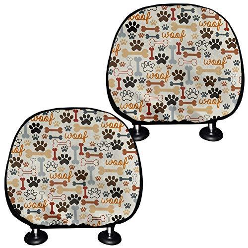 TOADDMOS Juego de 2 fundas para reposacabezas de asiento de coche, diseño de huellas y hueso, color beige