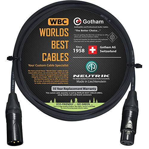 WORLDS BEST CABLES Gotham GAC-4/1 – Star Quad Mic Kabel – 0,5 Meter mit Neutrik Gold XLR Stecker