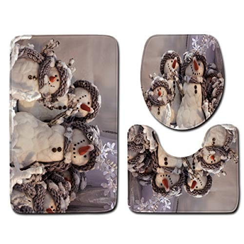 Navidad Muñeco De Nieve Poliéster Cortina De Ducha Impermeable Baño Antideslizante Alfombra De Piso Inodoro Lavable A Máquina Traje De Cuatro Piezas
