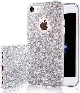 761e1e13912 Coovertify Funda Purpurina Brillante Plateada iPhone 7, Carcasa resistente  de gel silicona con brillo gris