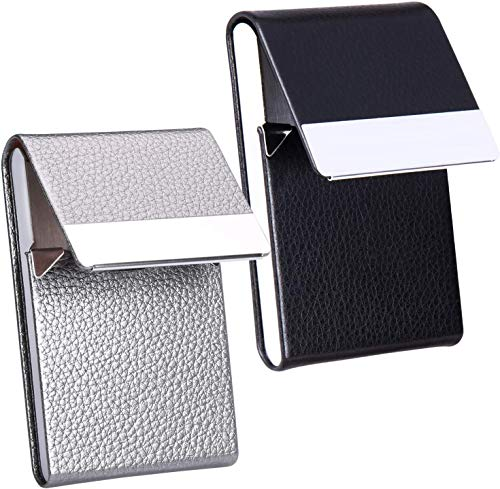 JuneLsy Business Card Holder - Professional PU Leather Business Card Case Metal Name Card Holder Pocket Business Card Carrier for Men & Women with Magnetic Shut, Pack of 2, (Black/Gray) Y